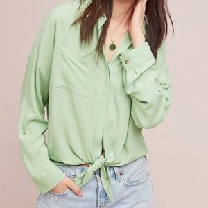 {Anthropologie} Maeve Green Button Down Blouse